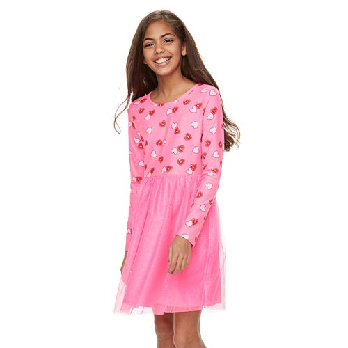 Girls 6-16 & Plus Size SO® Heart Print Tulle Dress