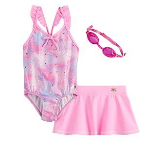 Girls 4-6x ZeroXposur Shooting Star 1-Piece, Cover-Up Skirt & Goggles Swimsuit Set