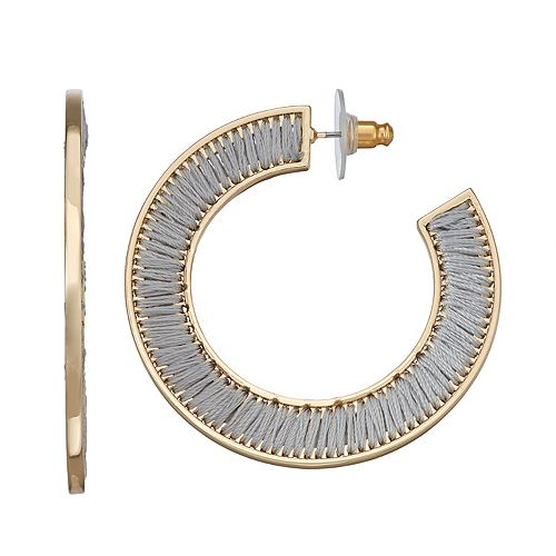 SONOMA Goods for Life™ Gold Tone Thread Wrapped Open Hoop Earrings