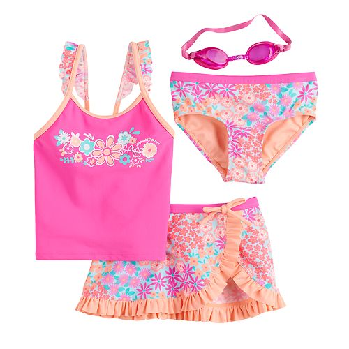 Girls 4-6x ZeroXposur Summer Sprinkle Tankini, Bottoms, Cover-Up Skirt & Goggles