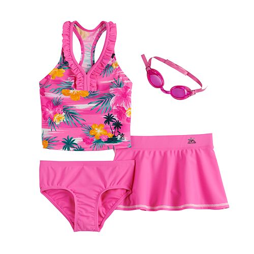 Girls 4-6x ZeroXposur Haven On Earth Tankini, Bottoms & Cover-Up Skirt