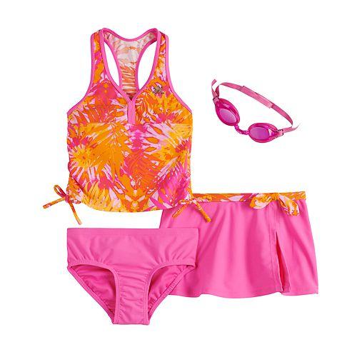 Girls 4-6x ZeroXposur Color Burst Tankini, Bottoms, Cover-Up Skirt & Goggles Swimsuit Set