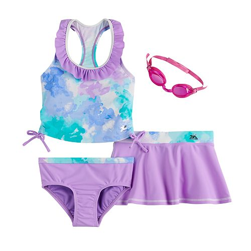 Girls 4-6x ZeroXposur Cotton Candy Tankini, Bottoms, Cover-Up Skirt & Goggles