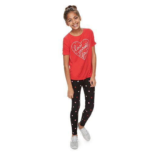 Girls 6-16 & Plus Size SO® Heart Printed Leggings