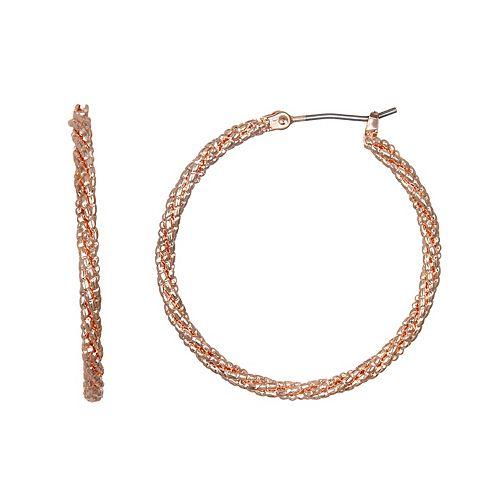 LC Lauren Conrad Rose Gold Tone Textured Nickel Free Hoop Earrings
