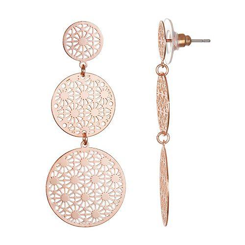 LC Lauren Conrad Rose Gold Tone Filigree Nickel Free Drop Earrings