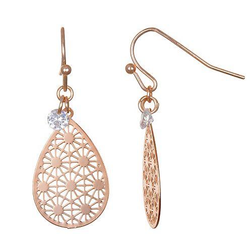 LC Lauren Conrad Rose Gold Tone Filigree Teardrop & Cubic Zicronia Nickel Free Drop Earrings