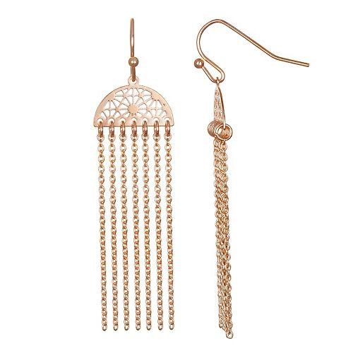 LC Lauren Conrad Filligree & Fringe Nickel Free Drop Earrings