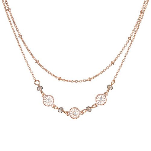 LC Lauren Conrad Rose Gold Tone Simulated Crystal Multi Rown Necklace