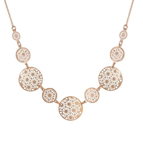 LC Lauren Conrad Rose Gold Tone Filigree Statement Necklace