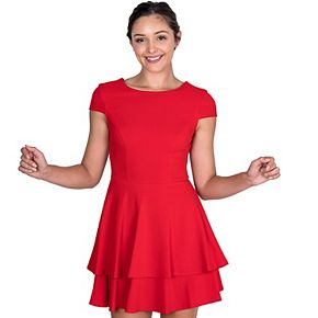 Juniors' B. Smart Double Layer Cap Sleeve Dress