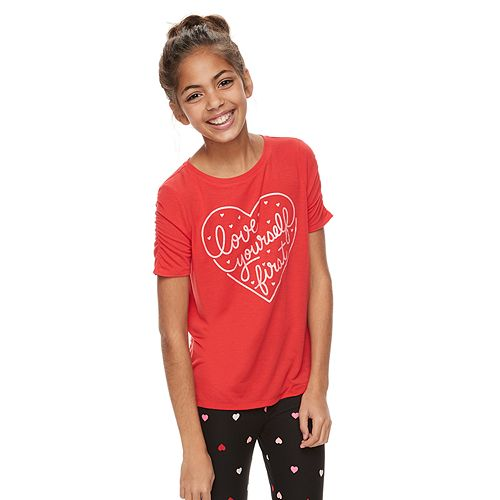 Girls 6-16 & Plus Size Ruched Sleeve Graphic Tee