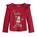 "Disney's Minnie Mouse Toddler Girl ""Cute & Cozy"" Ruffled Top by Jumping Beans®"