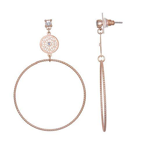 LC Lauren Conrad Simulated Crystal Filigree Hoop Nickel Free Drop Earrings