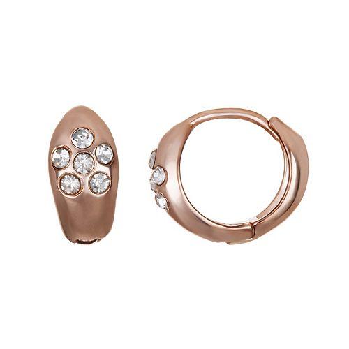LC Lauren Conrad Rose Gold Tone Simulated Crystal Hoop Earrings