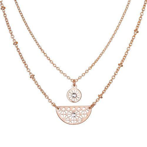 LC Lauren Conrad Rose Gold Tone Simulated Crystal Filigree Multi Strand Necklace