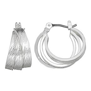 Napier Thick Triple Hoop Silver Tone Earrings