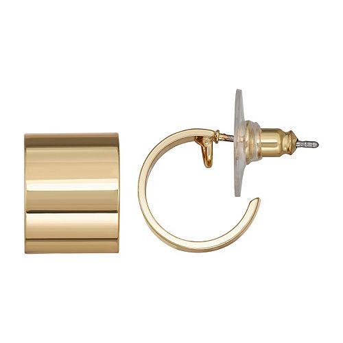 Napier Gold Tone C Button Earrings