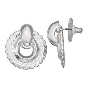 Napier Silver Tone Woven Button Door Knocker Earrings