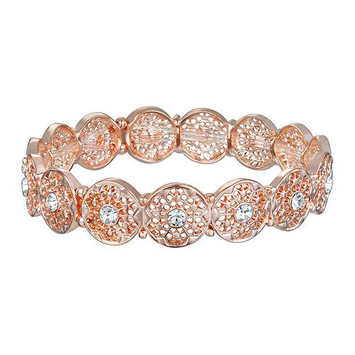 LC Lauren Conrad Rose Gold Tone & Simulated Crystal Filigree Stretch Bracelet