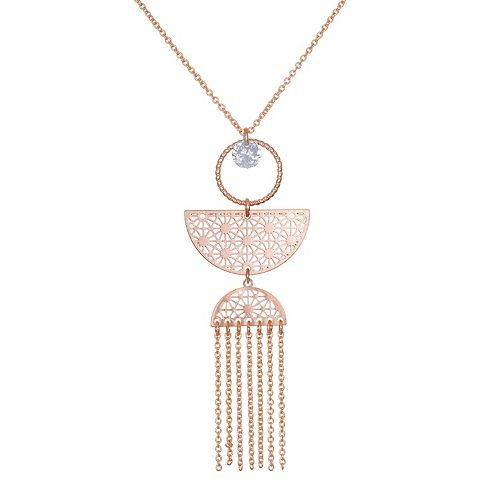 LC Lauren Conrad Rose Gold Tone Cubic Zircona Filigree Fringe Necklace