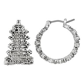 Napier Medium Click It Textured Hoop Earrings