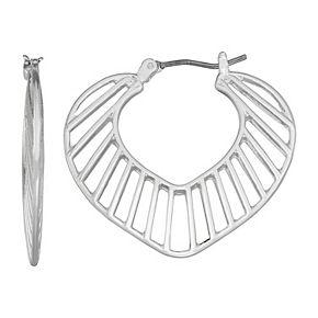 Napier Silver Tone Ribbed Leaf Hoop Earrings