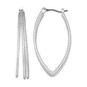Napier Click It Pointed Triple Hoop Earrings