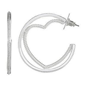 Napier Silver Tone Textured Heart Hoop Earrings