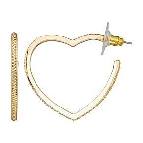 Napier Heart Open Hoop Gold Plated Earrings