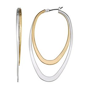 Napier Extra Large Double Hoop Two Tone Earrings