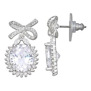 Napier Cubic Zirconia Drop Post Twist Earrings