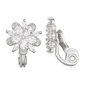 Napier Cubic Zirconia Blossoming Flower Button Clip On Earrings