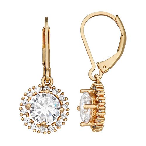 Napier Cubic Zirconia Gold Tone Drop Leverback Earrings