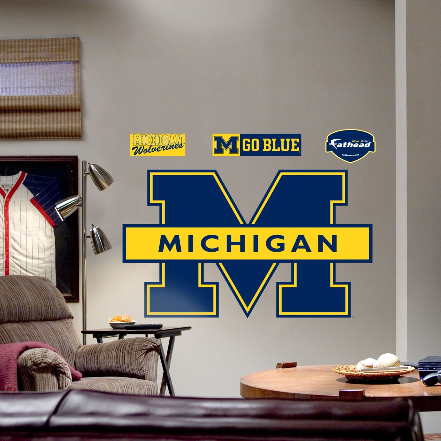 Nfl Fatheads Wall Stickers University Of Michigan Wolverines Blue Logo Wall  Decal