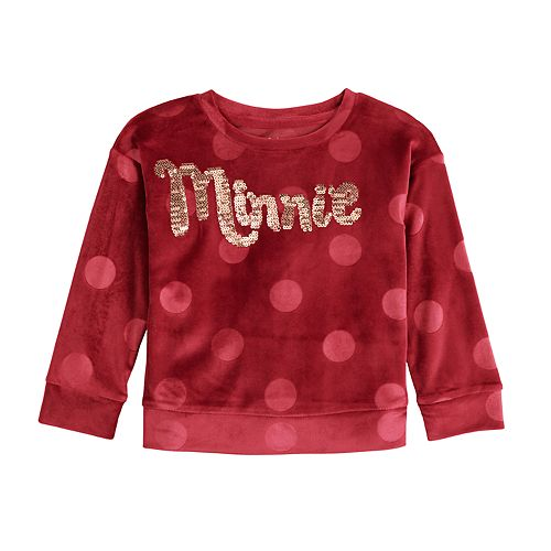 """Disney's Minnie Mouse Toddler Girl Velour Sequined """"Minnie"""" Top by Jumping Beans®"""