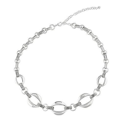 Napier Silver Tone Linked Collar Necklace