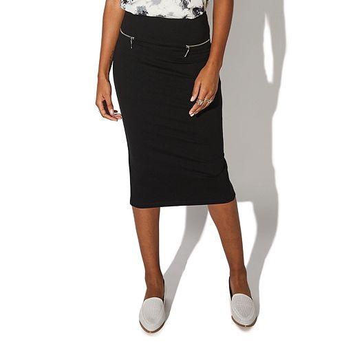 Juniors' Vylette™ Faux Zip Pocket Ponte Midi Skirt