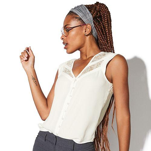 Juniors' Vylette™ Lace Inset Button Front Blouse