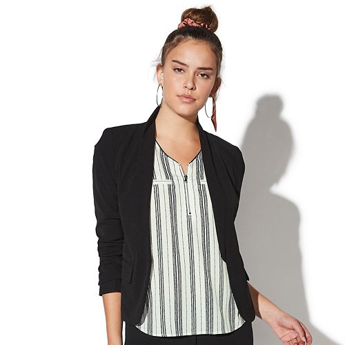Juniors' Vylette™ Open-Front Ruched Sleeve Blazer