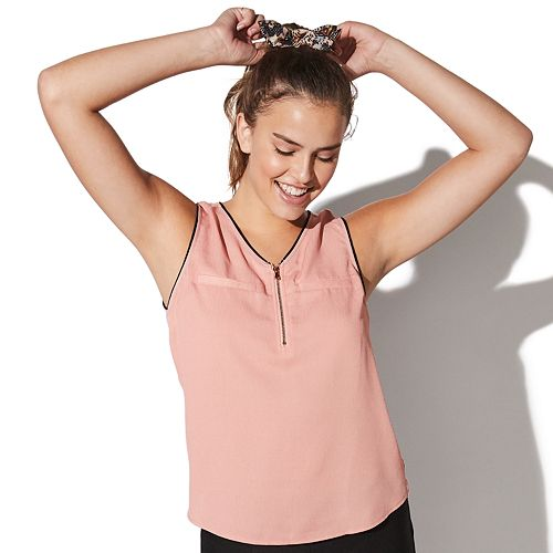 Juniors' Vylette™ Zipper Front Tank Top with Knit Back