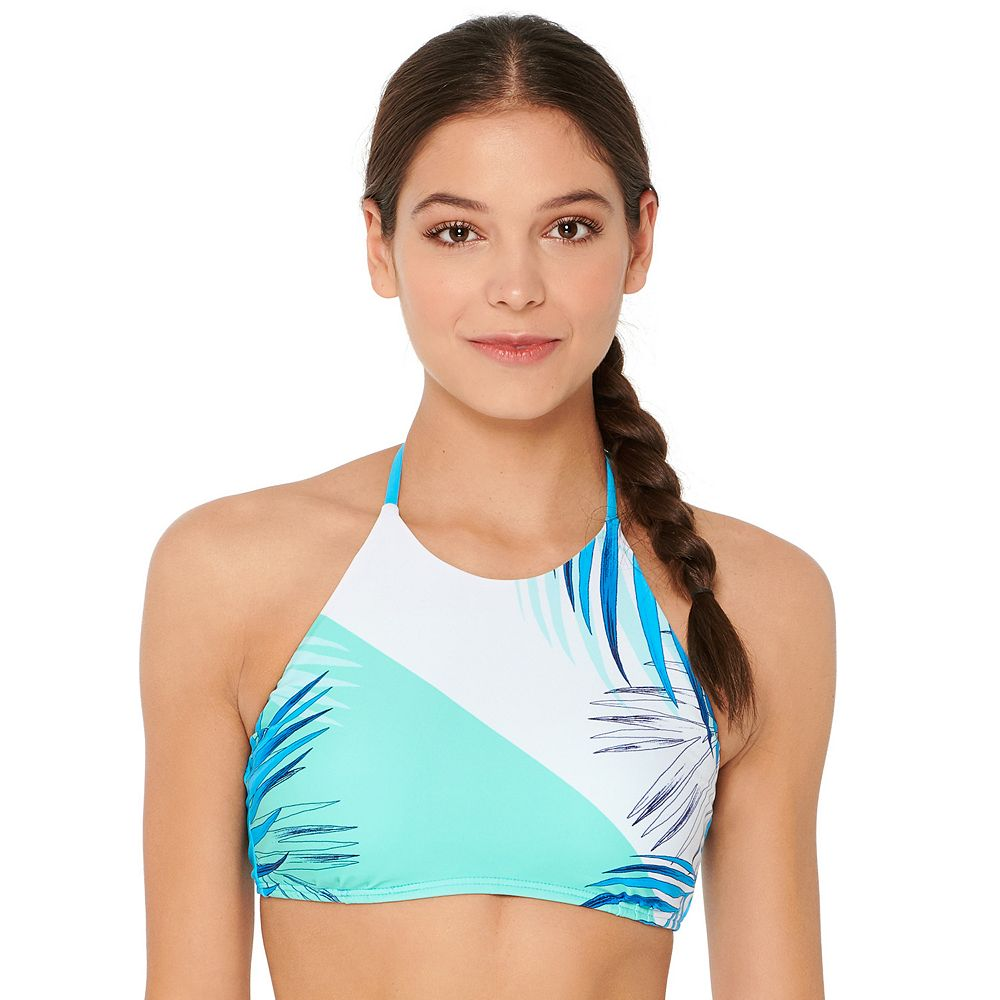 Mix and Match Colorblock High Neck Bralette Swim Top
