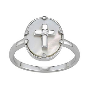 Harper Stone Silver Plated Oval Cross Cubic Zirconia Ring