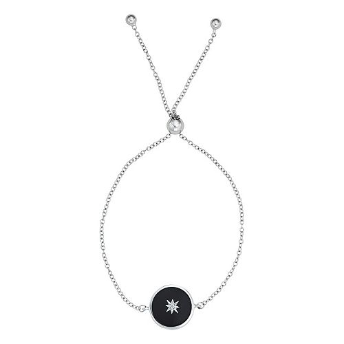 Harper Stone Silver Plated Round Black Agate Cubic Zirconia Adjustable Bracelet