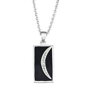 Harper Stone Silver Plated Crescent Moon Rectangle Black Agate Pendant