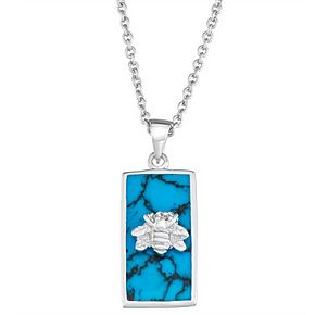 Harper Stone Silver Plated Bee Rectangle Turquoise Cubic Zirconia Pendant