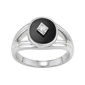 Harper Stone Silver Plated Black Oval Agate Cubic Zirconia Ring