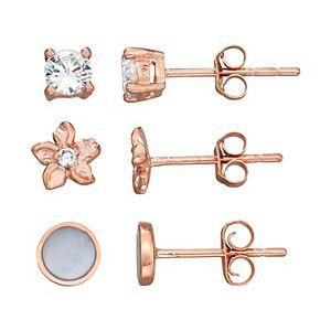 Harper Stone Rose Gold Plated Flower Cubic Zirconia Trio Earrings