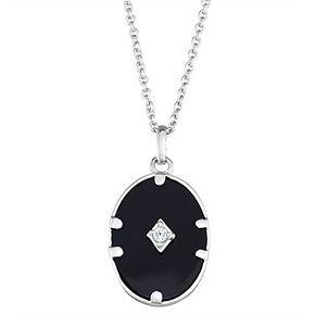 Harper Stone Silver Plated Black Oval Agate Cubic Zirconia Pendant