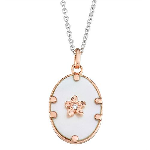 Harper Stone Rose Gold Plated Oval Cubic Zirconia Pendant